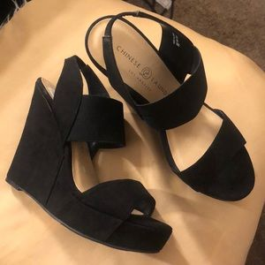 CHINESE LAUNDRY WEDGES BLACK SUEDE